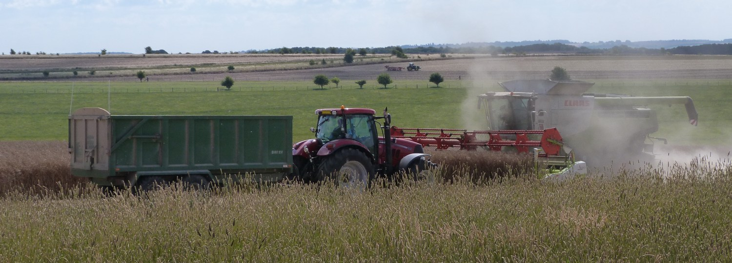 Image of combines and tractors in mixed agricultural landscape © NERC – Centre for Ecology & Hydrology. All rights reserved.