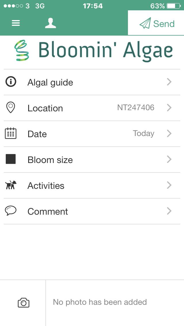 Bloomnin' algae app - front page