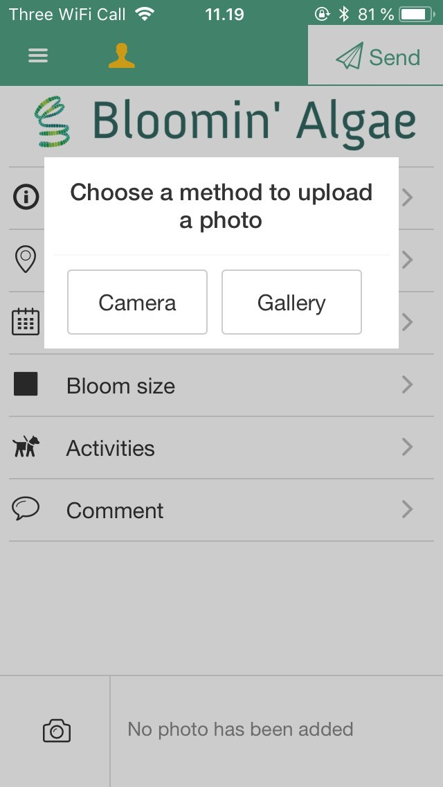 Bloomin' algae app - upload a photo